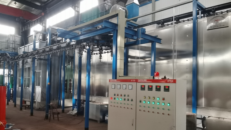 湖北十堰油缸自动静电喷漆线工程案例
